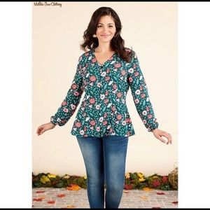 MATILDA JANE Yesteryear Green Floral Tunic TOP S